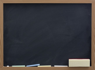 blank blackboard with eraser and chalk