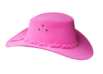 PinK Suede Cowgirl Hat isolated with clipping path
