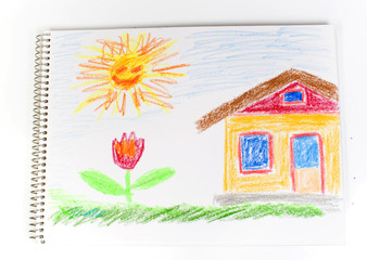 Figure the house, a green grass, a bright flower and the sun