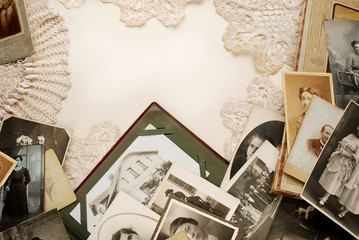 Background of old family photos and doilies