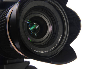 Objective with lens hood