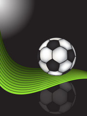 soccer ball over black vector
