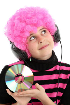 Young girl with disk