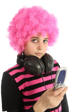 Young girl  with pink hair and phone