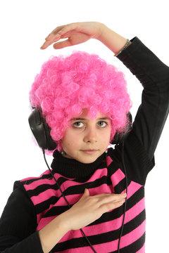 Young girl dancing with headphones