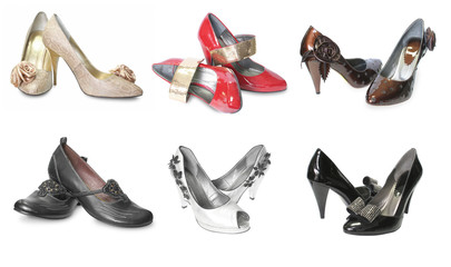 collection of females shoes isolated