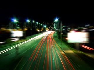 Road in the night Krasnoyarsk