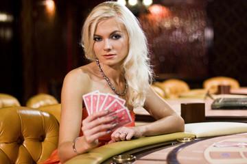 young europian woman in a casino