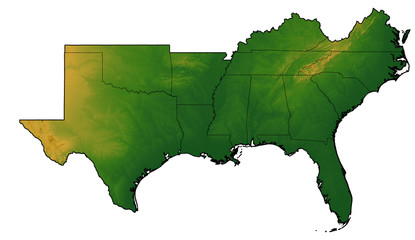 Terrain map of the Southern United States