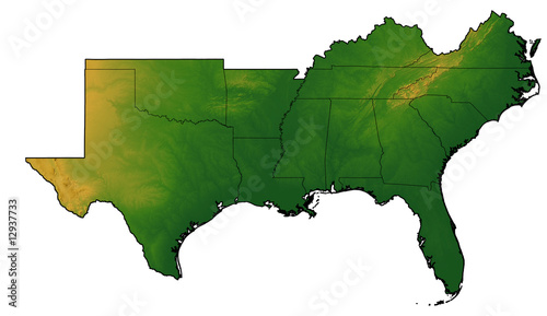 Terrain map of the southern united states stock photo and royalty terrain map of the southern united states gumiabroncs Images