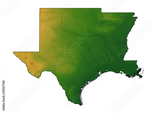 QuotTerrain Map Of Texas Oklahoma Arkansas And Louisiana