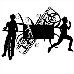 Sports vector with biker, roller blader and runner
