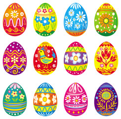 Collection of multicolored vector eggs