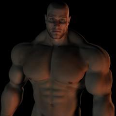 Muscular Bald Male Bodybuilder Torso Profile