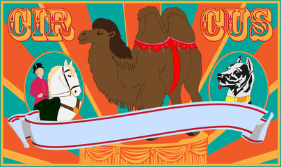 Vector illustration of the poster of circus in old style