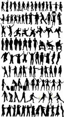 Collection of silhouettes, work with vectors