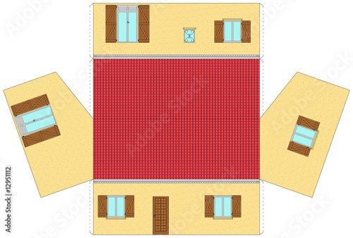 maquette de maison en papier d couper photo libre de droits sur la banque d 39 images fotolia. Black Bedroom Furniture Sets. Home Design Ideas