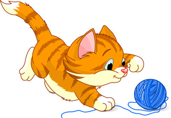 Image of kitten playing with a ball of yarn