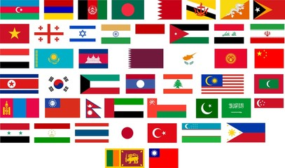 Flags of all Asian countries.