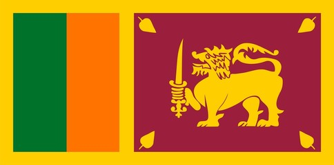 Flag of Sri Lanka. Illustration over white background