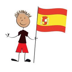enfant drapeau espagne