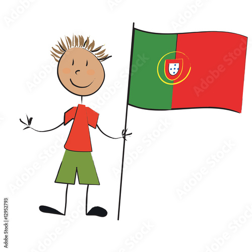 Enfant drapeau portugal photo libre de droits sur la - Dessin drapeau portugal ...