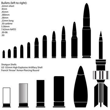 Bullets, shells and cartridges in detailed vector silhouette