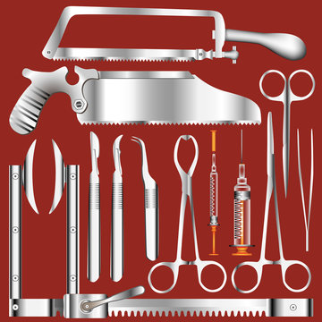 Surgical tool set with stainless steel texture