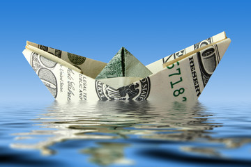 crisis. money ship in water