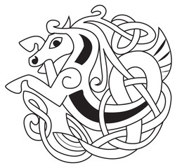 Celtic horse - unicorn Symbol. Great for tattoo or artwork.