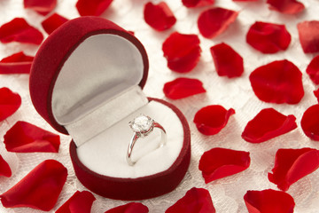 Diamond Ring In Heart Shaped Box Surrounded By Rose Petals