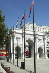 Marble Arch With Flags Flying, London, England