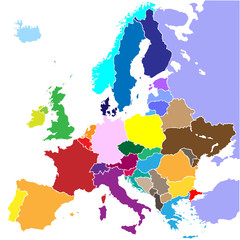 europe map vector (country border)