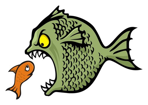 Angry bully fish bullying cartoon illustration