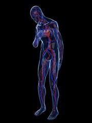 transparenter körper mit herzschmerzen