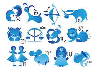 set of zodiac icons with symbols