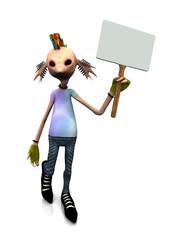 Cartoon punk rocker with blank sign
