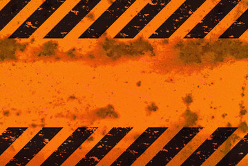 Rusted Hazard Stripes Sign