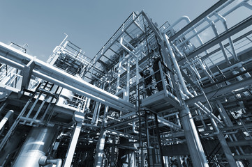 oil and gas refinery in blue toning