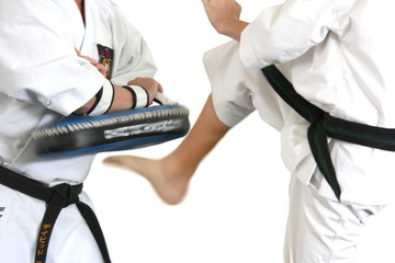 Kick in karate, picture with motion blur