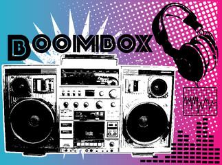 BOOMBOX MUSIC PRINT DESIGN ARTWORK