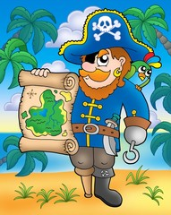Poster Pirates Pirate with treasure map on beach