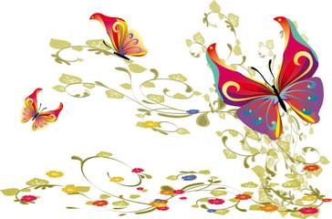 flore et papillons