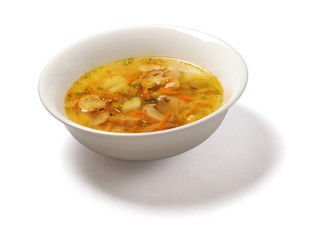Soup with potatoes, mushrooms, carrot, dill and pepper