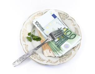 money on a dessert