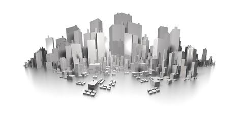 big city skyline extreme panorama