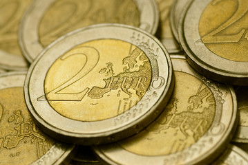 picture - lot of 2 euro coins - close up image