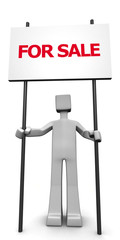 3d man holding a signboard with for sale message