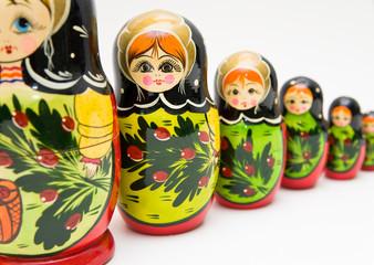 russian matryoshka doll on white background
