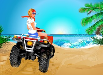 Girl riding quad in Africa